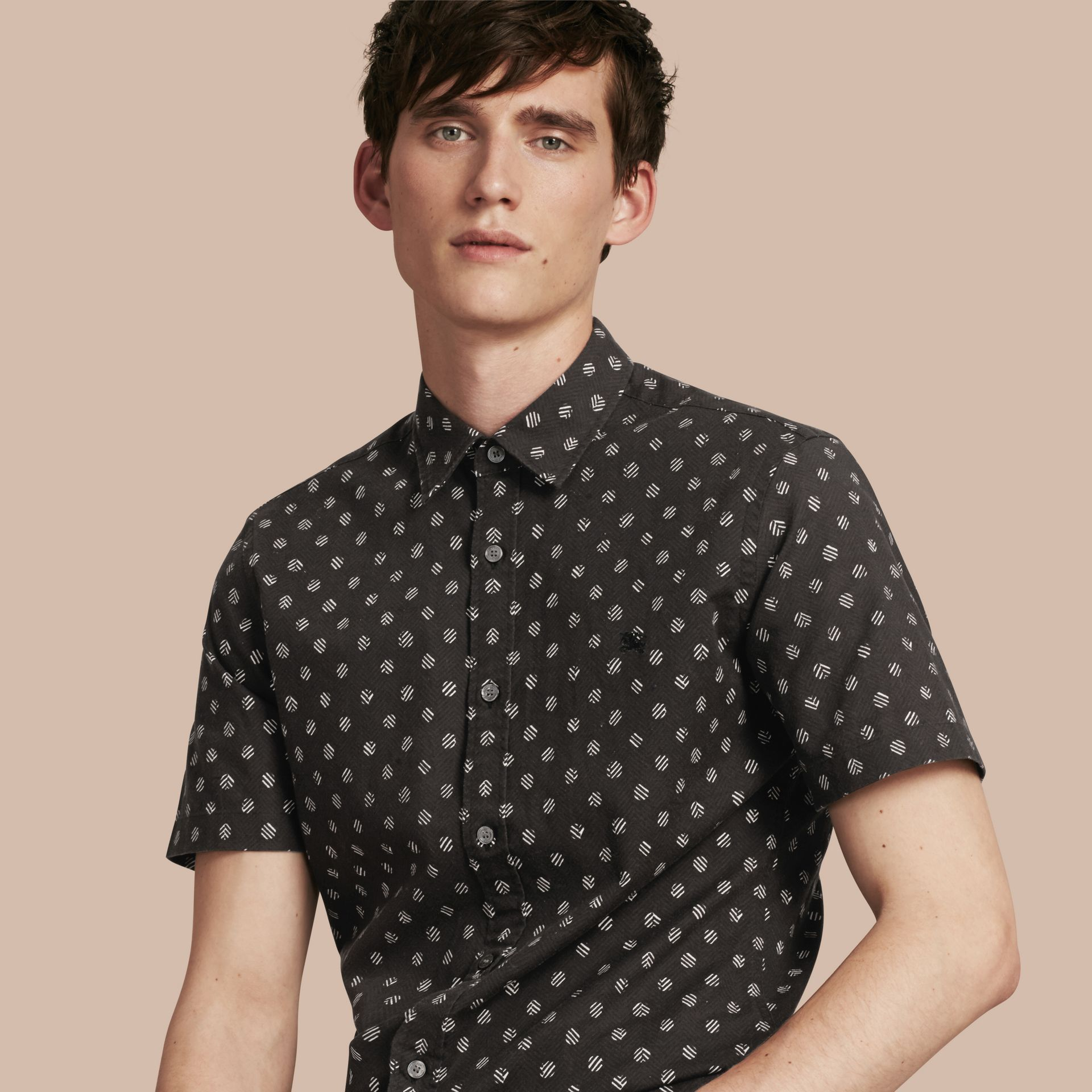 Black Short-sleeved Printed Cotton Linen Shirt - gallery image 1