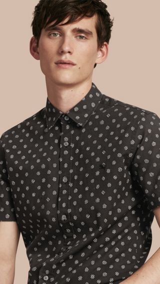 Short-sleeved Printed Cotton Linen Shirt