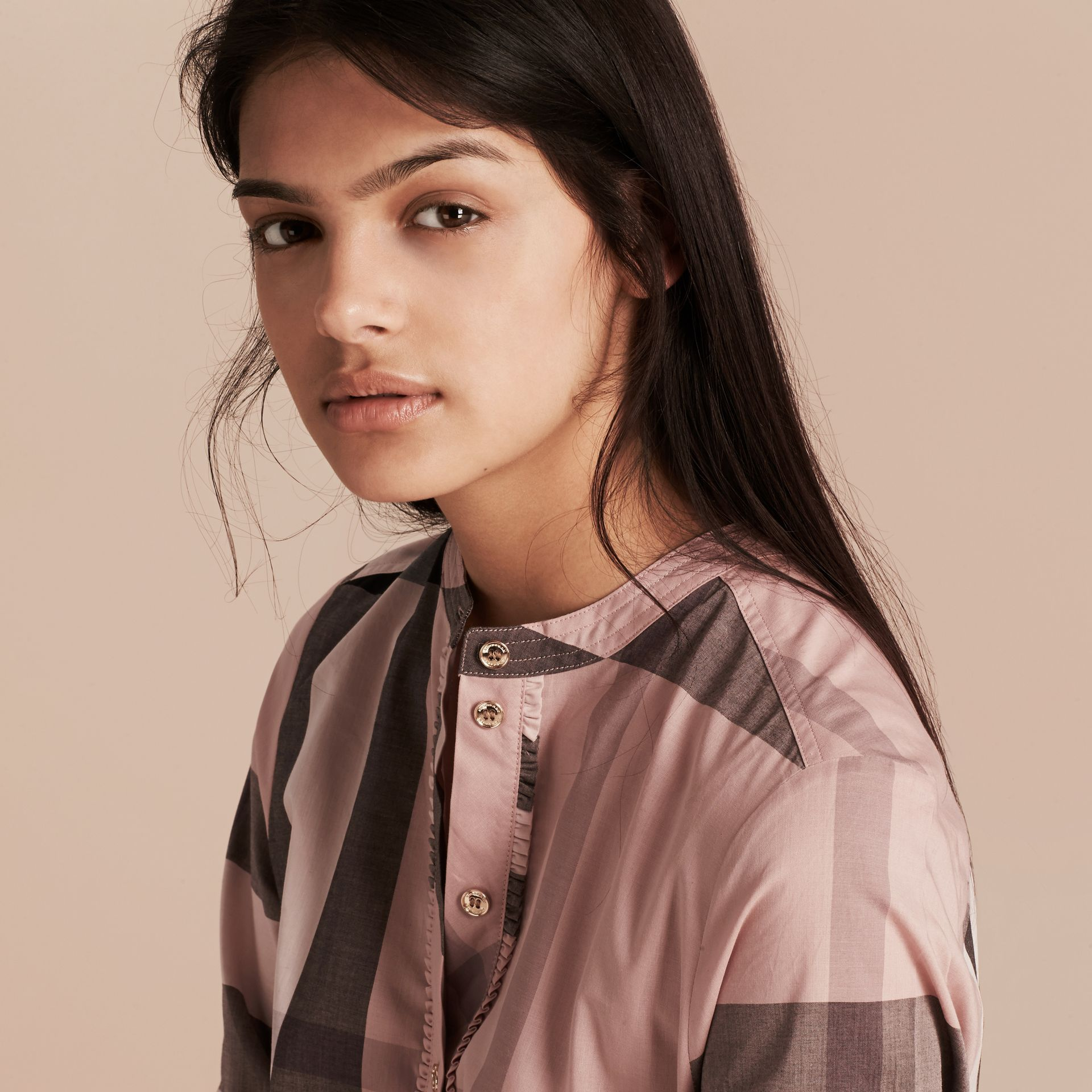 Check Grandad Collar Shirt in Antique Pink - Women | Burberry - gallery image 4