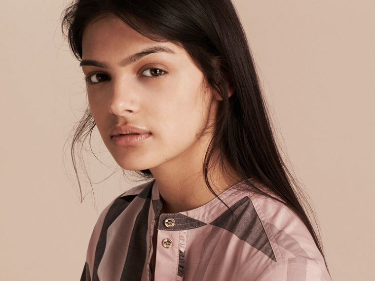 Check Grandad Collar Shirt in Antique Pink - Women | Burberry Singapore - cell image 4