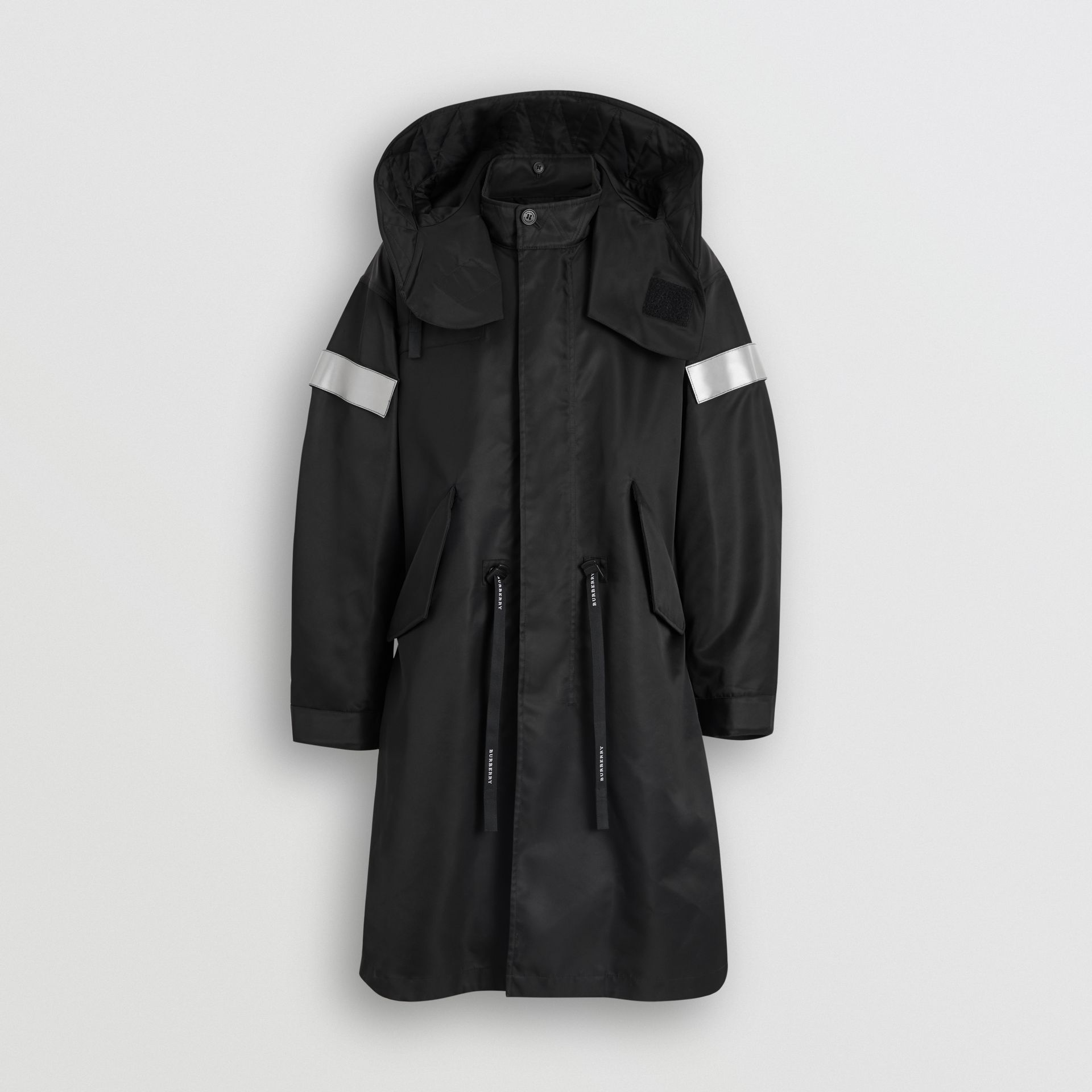 Detachable Hood Reflective Stripe Nylon Parka in Black - Men | Burberry - gallery image 3