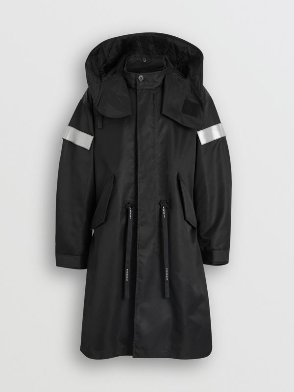 Detachable Hood Reflective Stripe Nylon Parka in Black - Men | Burberry - cell image 3