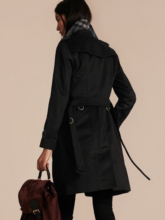 Black Sandringham Fit Cashmere Trench Coat Black - cell image 2