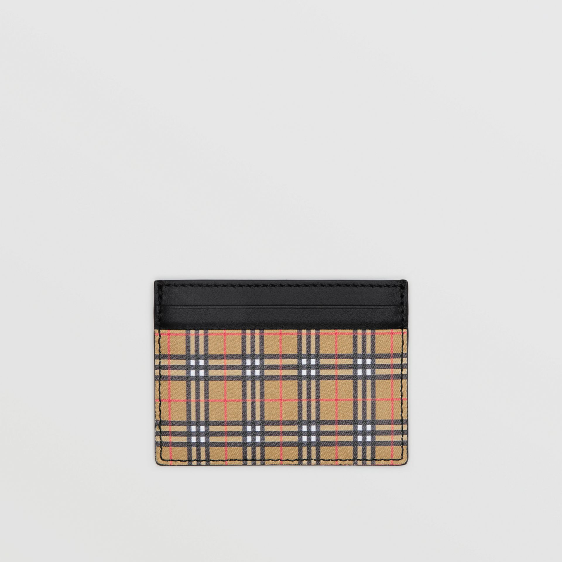 Vintage Check and Leather Card Case in Antique Yellow/black - Men | Burberry Canada - gallery image 0