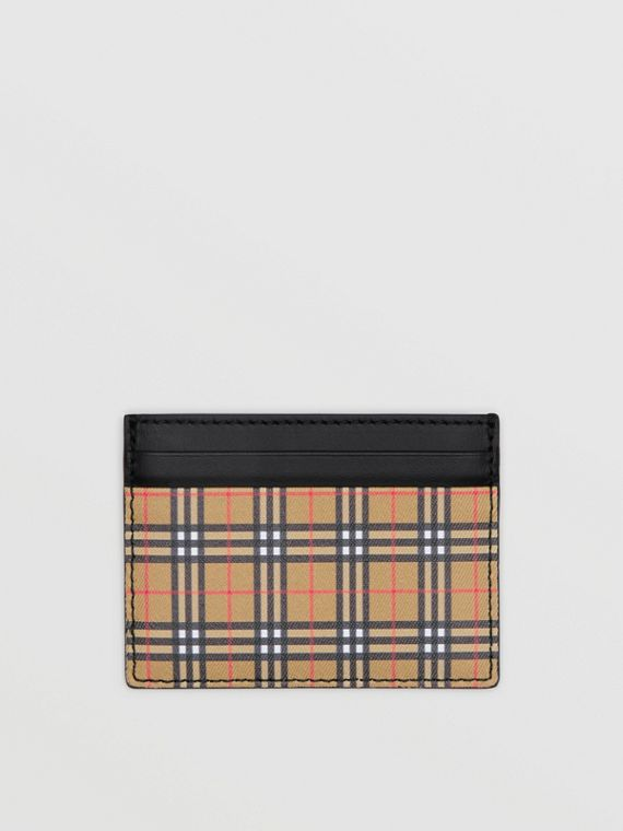 Vintage Check and Leather Card Case in Antique Yellow/black