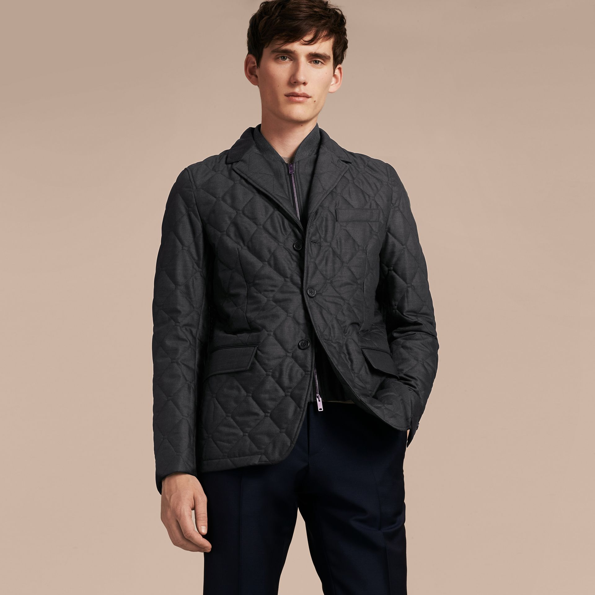 Charcoal Quilted Wool Jacket with Detachable Warmer - gallery image 7