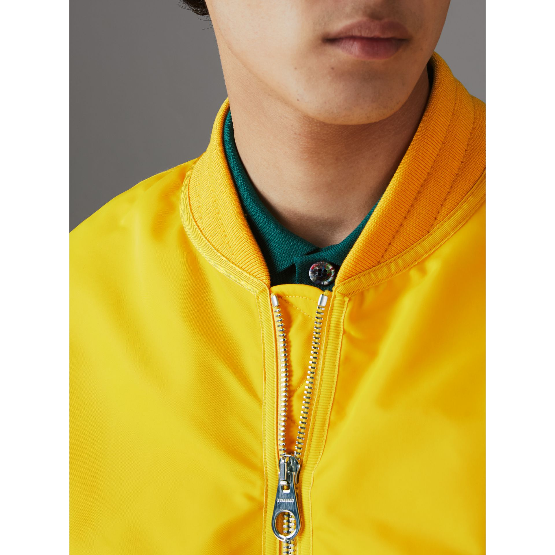 Nylon Bomber Jacket in Bright Yellow - Men | Burberry United Kingdom - gallery image 4
