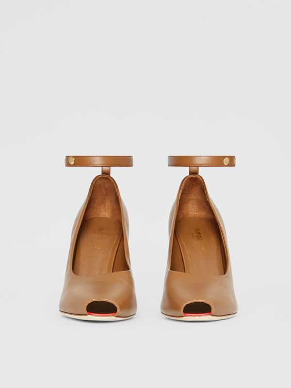 D-ring Detail Leather Peep-toe Pumps in Amber Brown - Women | Burberry - cell image 3