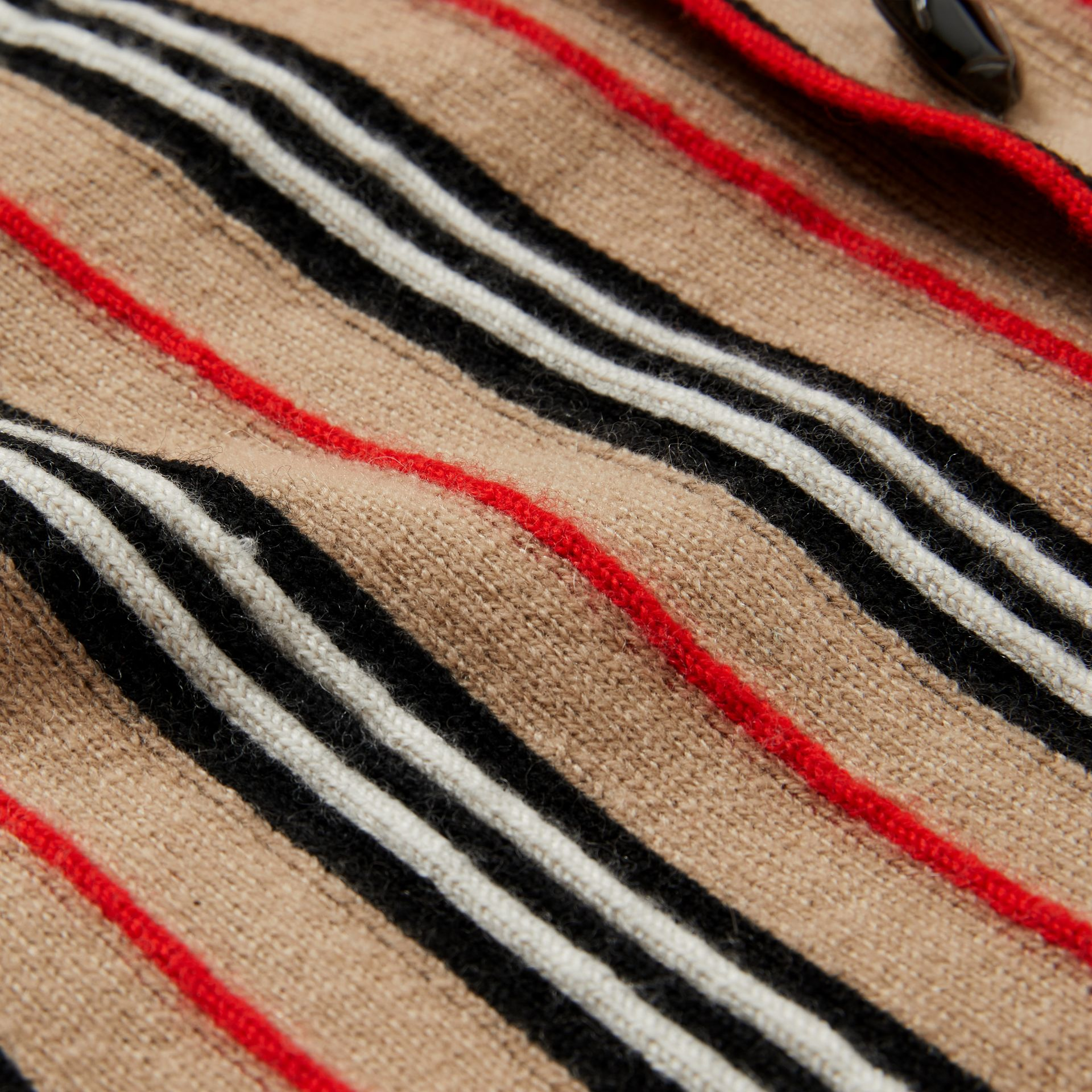 Icon Stripe Wool Cashmere Cardigan in Archive Beige | Burberry - gallery image 1