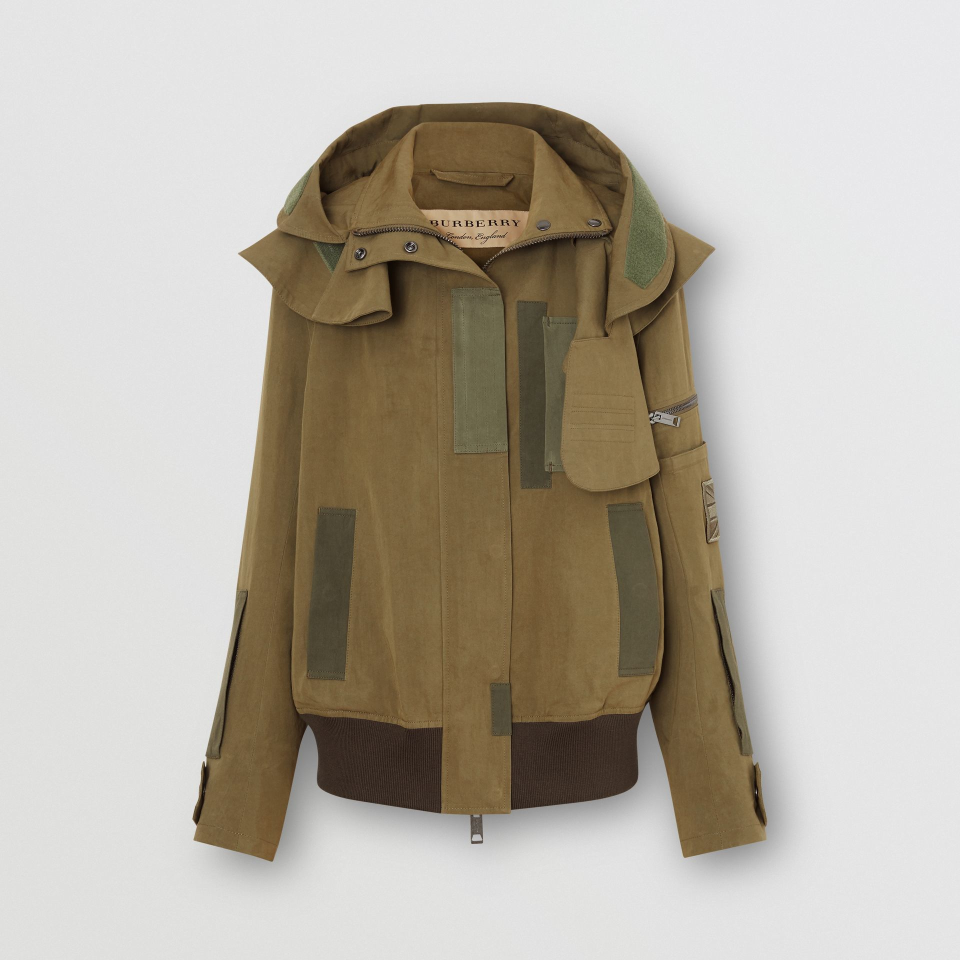 Detachable Hood Cotton Silk Twill Jacket in Khaki Green - Women | Burberry United States - gallery image 3