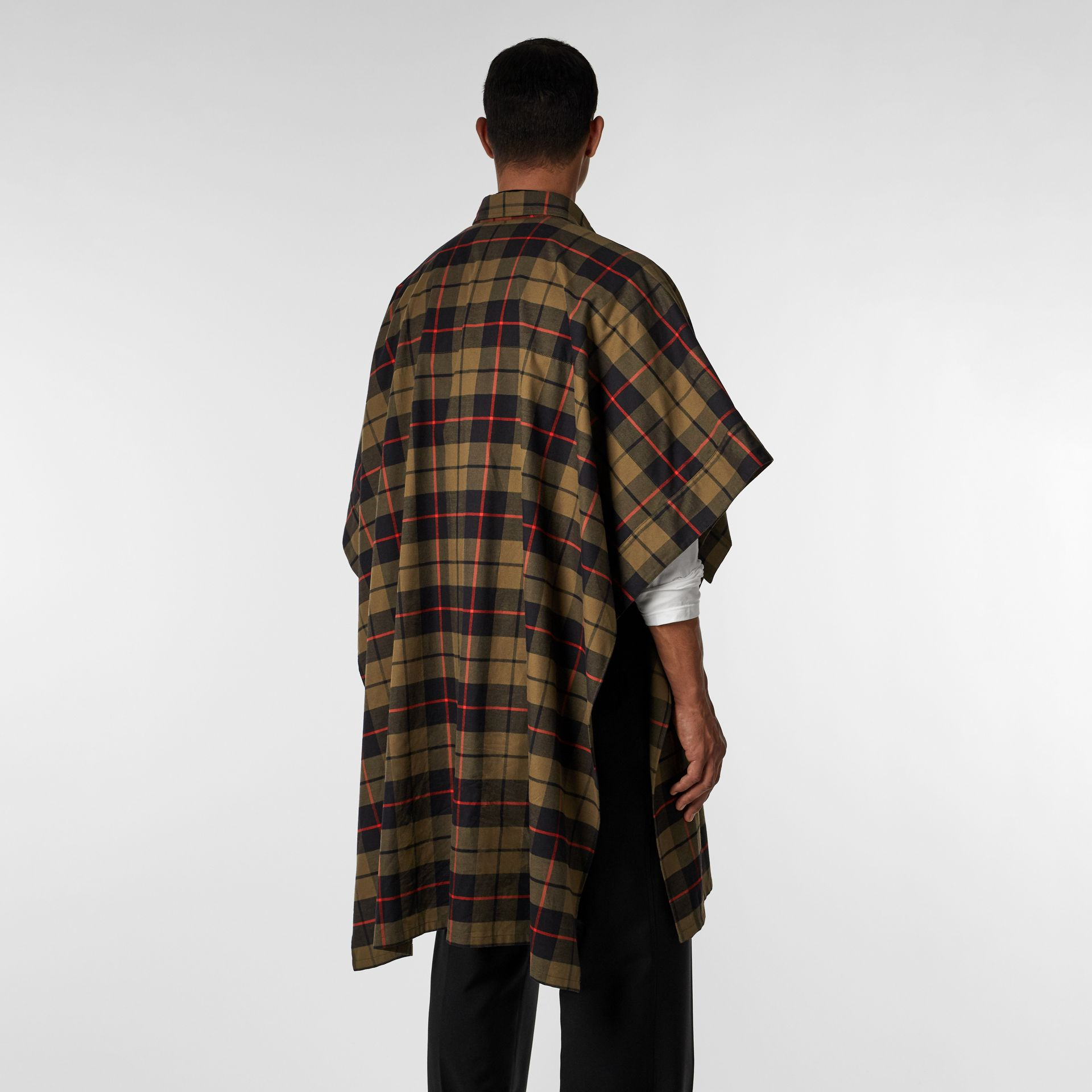 Monogram Motif Check Cotton Oversized Poncho in Military Olive | Burberry United States - gallery image 8