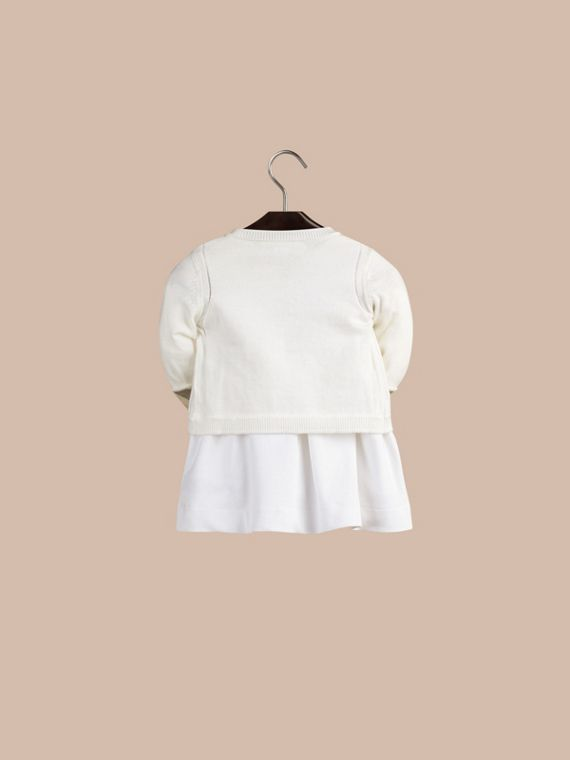 Check Cuff Cotton Cardigan in White - cell image 2