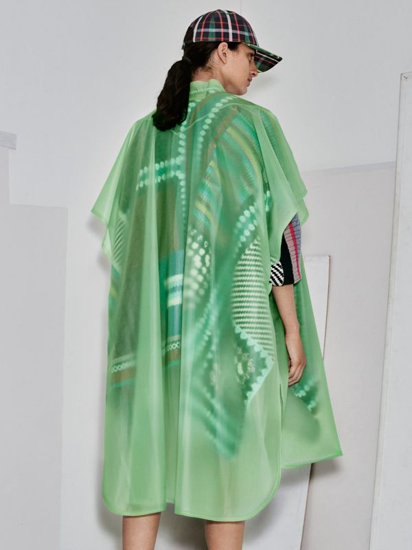 Soft-touch Plastic Poncho in Mint Green - Women | Burberry - cell image 2
