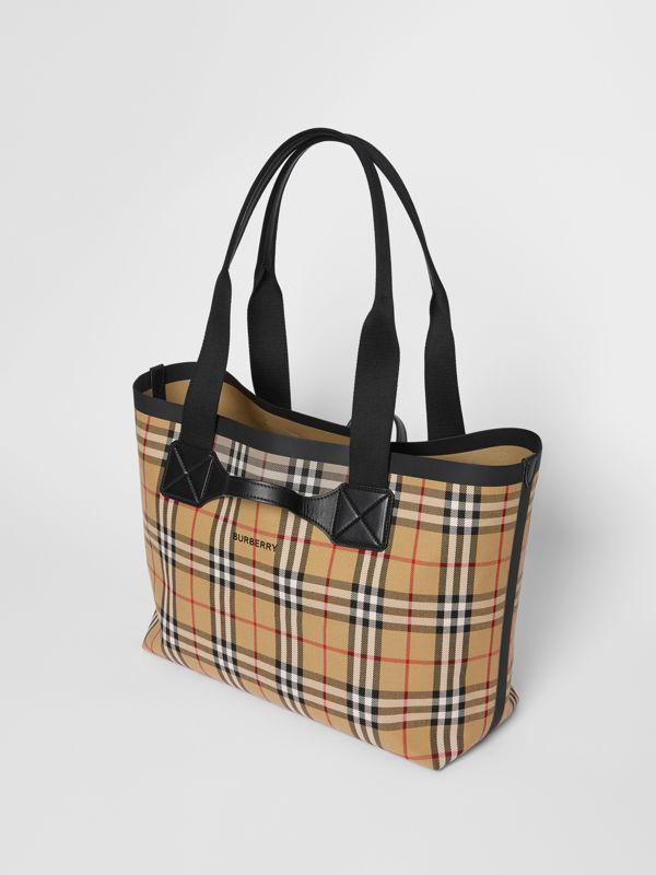 Medium Vintage Check Austen Tote in Archive Beige - Women | Burberry - cell image 3