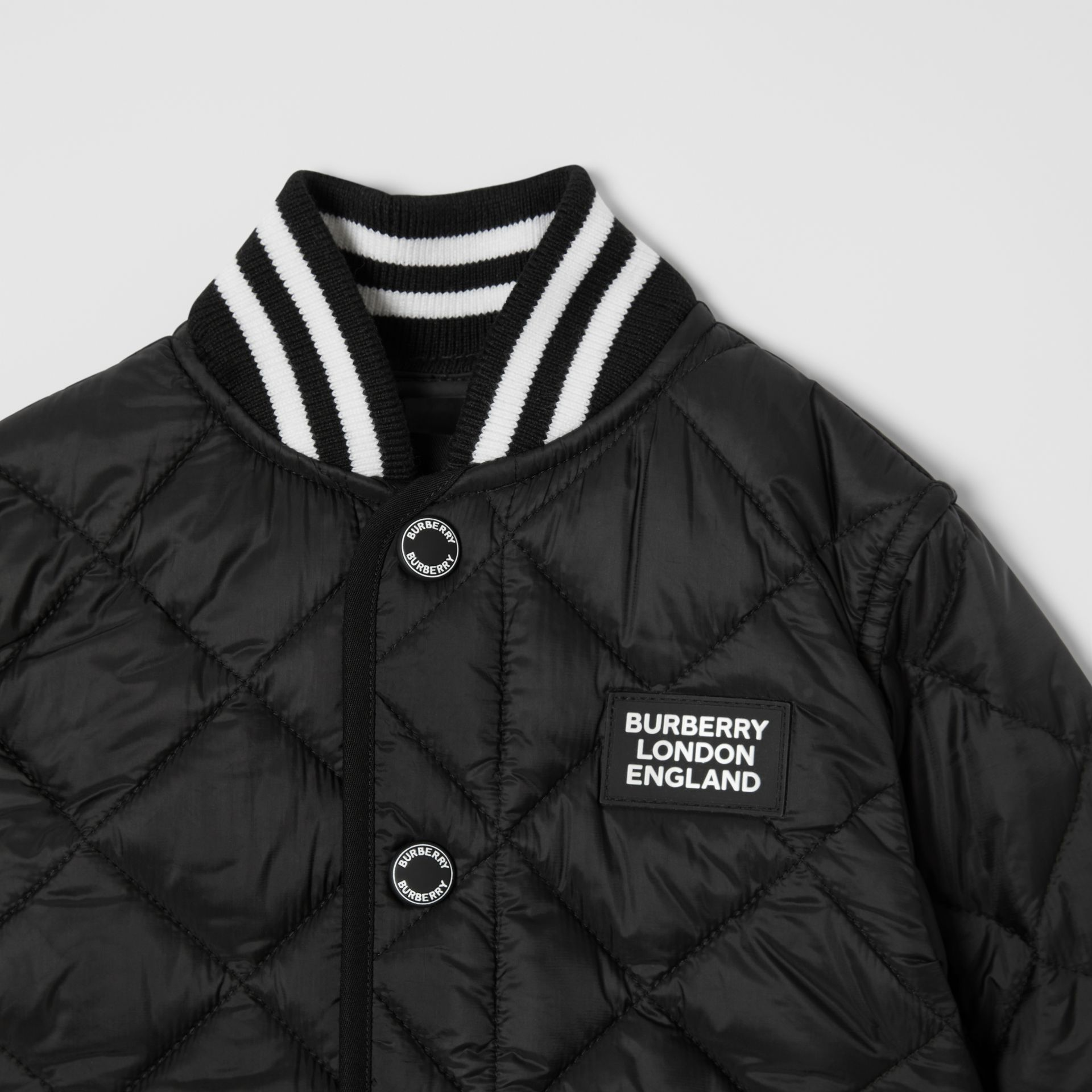 Recycled Polyester Diamond Quilted Jacket in Black - Children | Burberry United Kingdom - gallery image 5