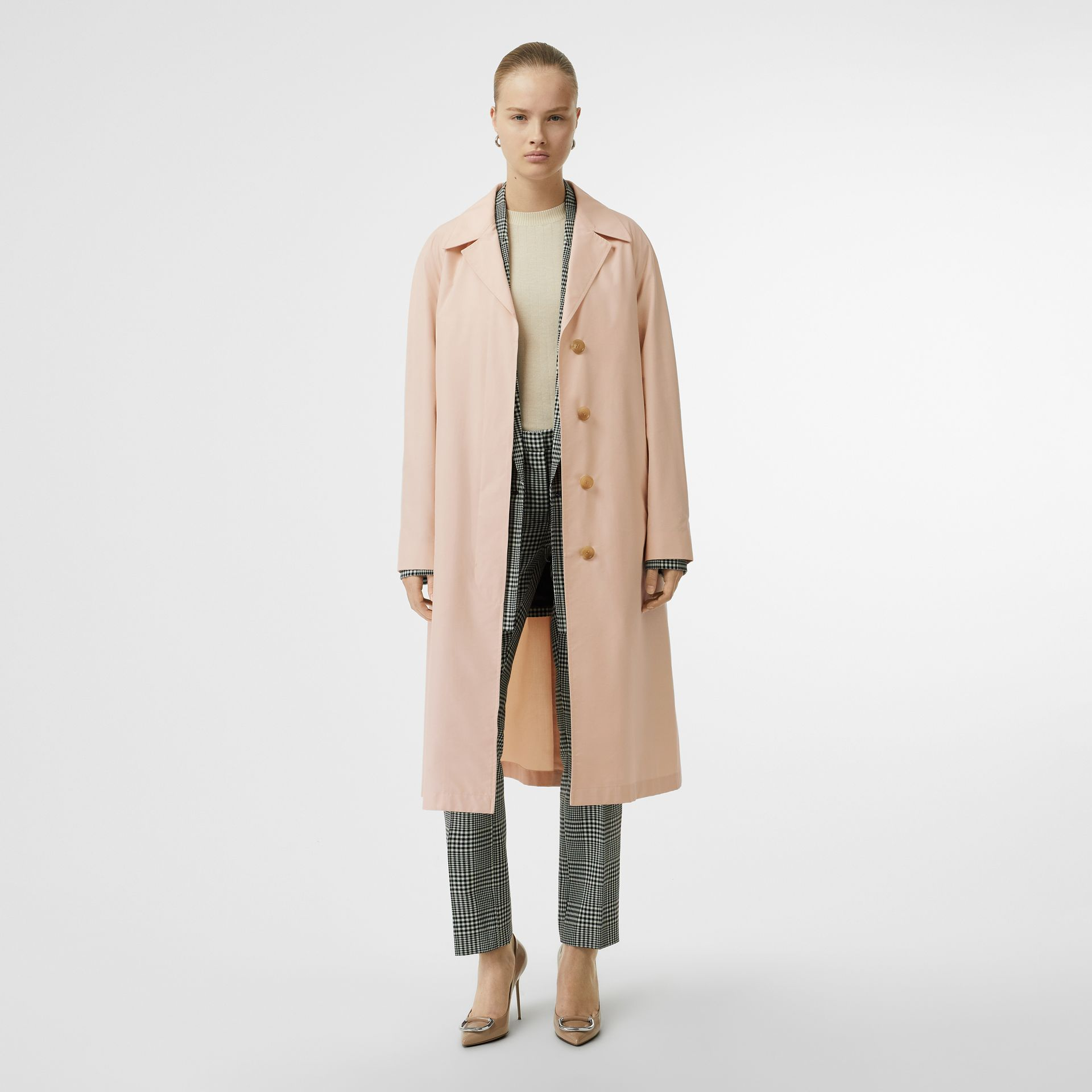 Belted Check Cotton Silk Car Coat in Chalk Pink - Women | Burberry - gallery image 0