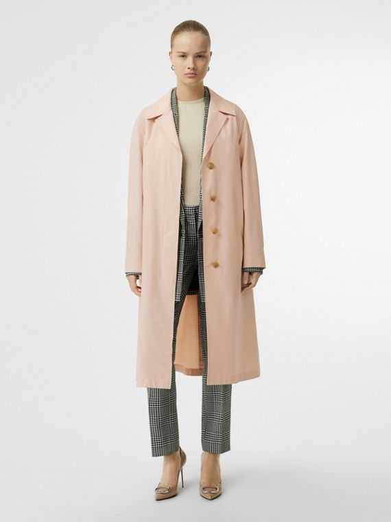 Belted Cotton Silk Car Coat in Chalk Pink