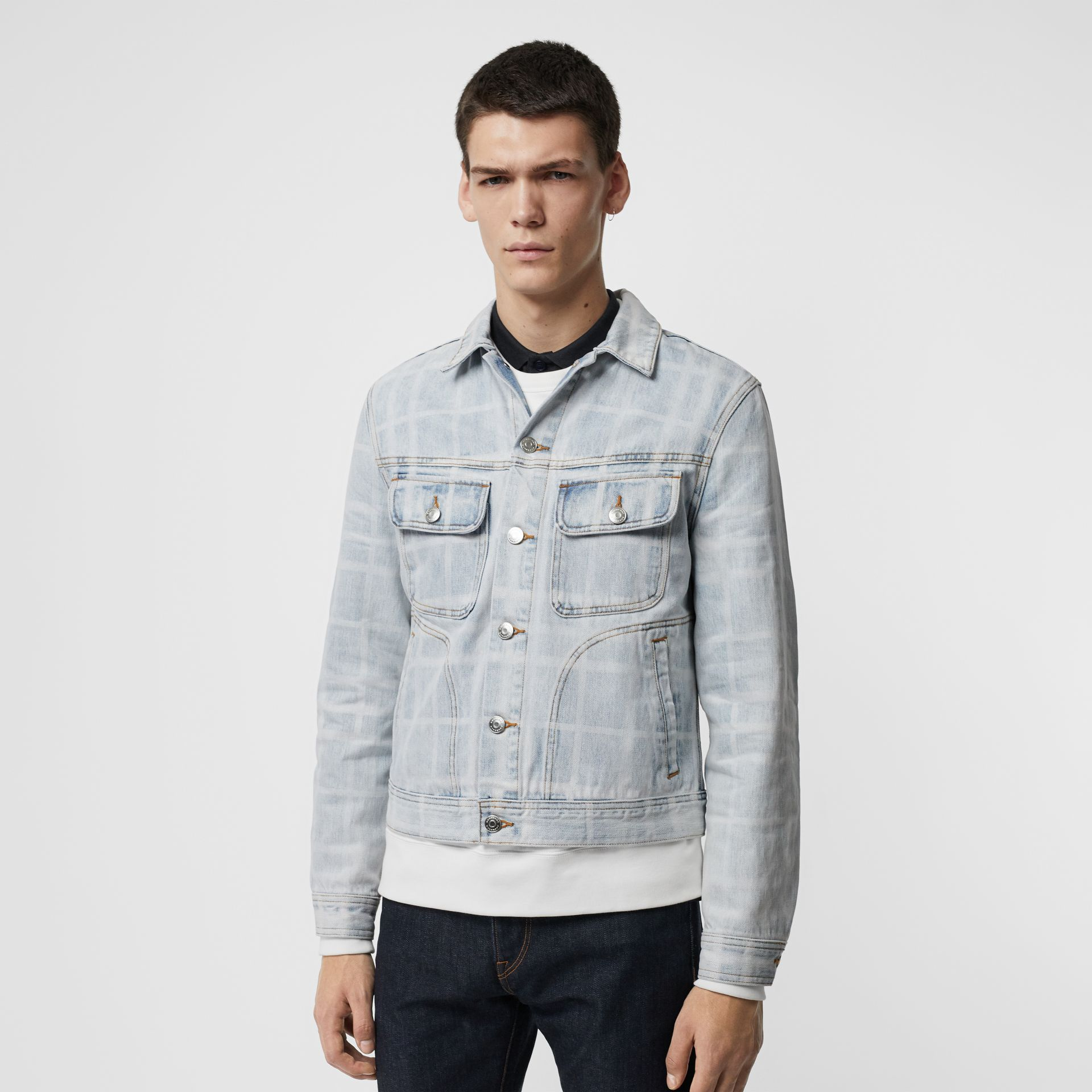 Bleached Check Denim Jacket in Light Indigo - Men | Burberry - gallery image 2