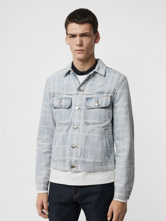 Bleached Check Denim Jacket in Light Indigo