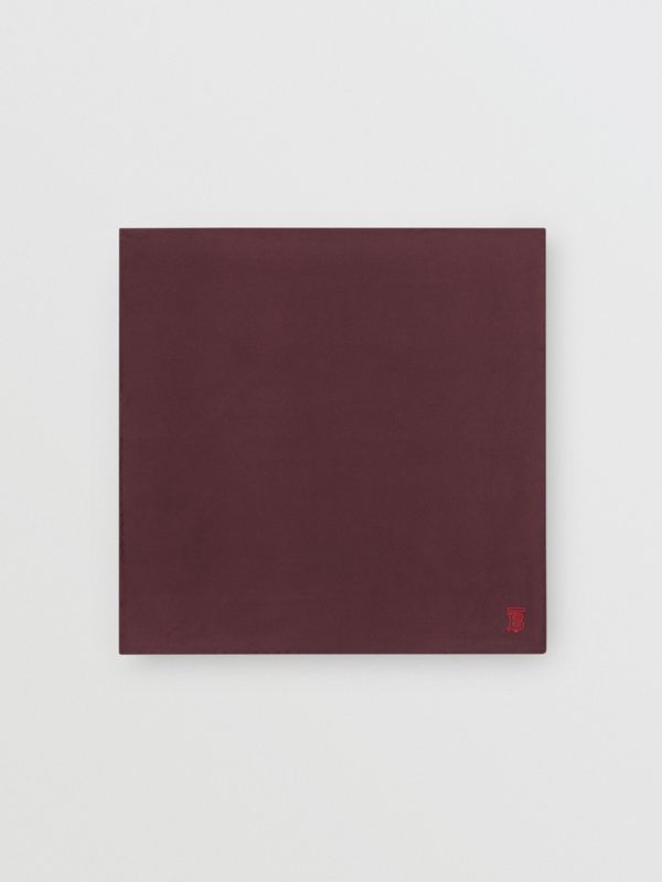 Monogram Motif Silk Pocket Square in Burgundy - Men | Burberry - cell image 3