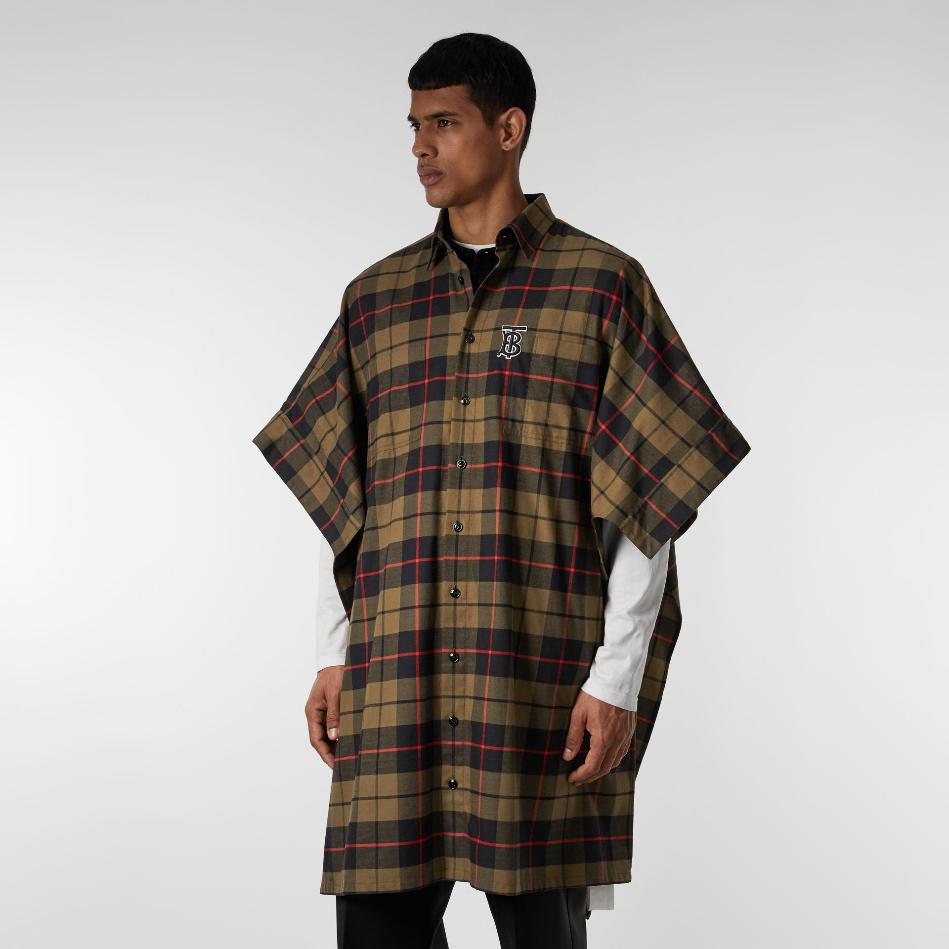 Monogram Motif Check Cotton Oversized Poncho in Military Olive | Burberry United States - gallery image 10