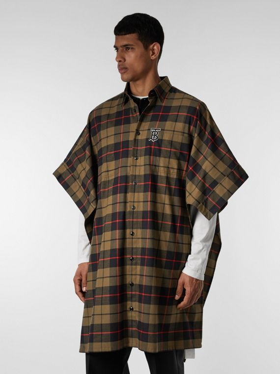 Monogram Motif Check Cotton Oversized Poncho in Military Olive