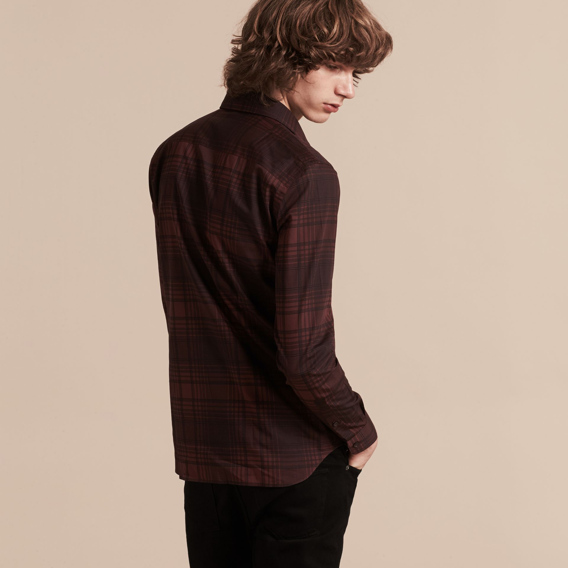 Crimson red Check Lightweight Cotton Silk Shirt Crimson Red - gallery image 3