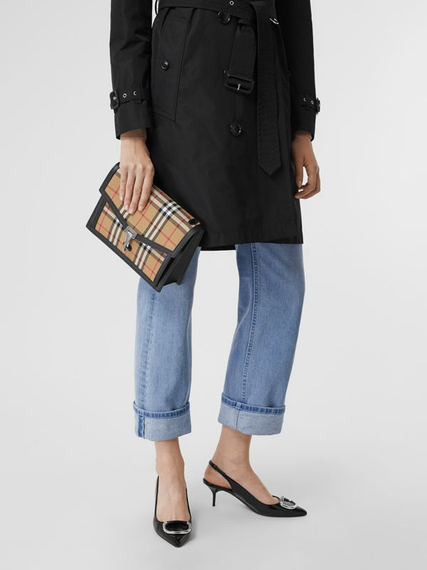 Small Vintage Check and Leather Crossbody Bag in Black - Women | Burberry Australia - cell image 3