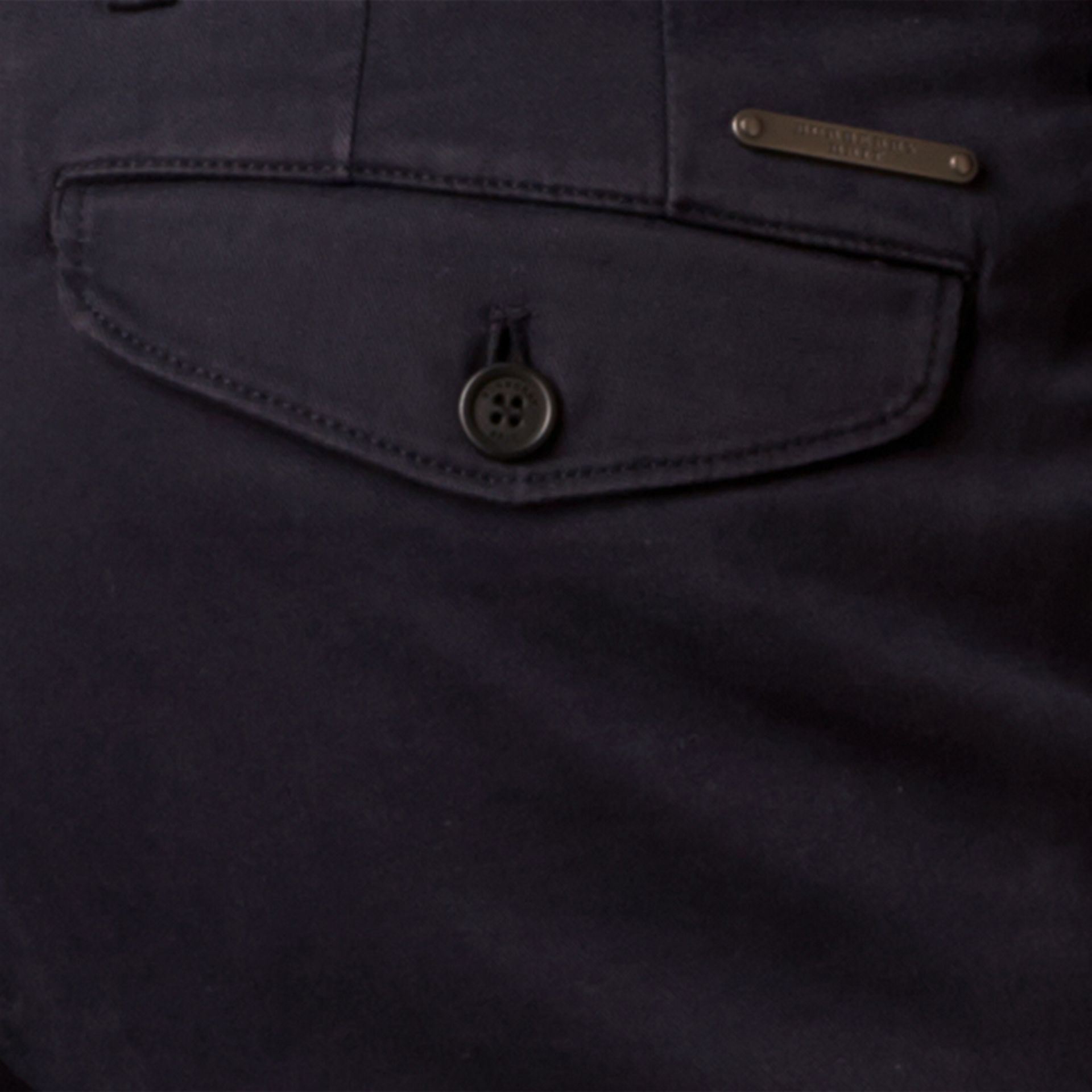 Navy Slim Fit Stretch-Cotton Twill Chinos Navy - gallery image 2