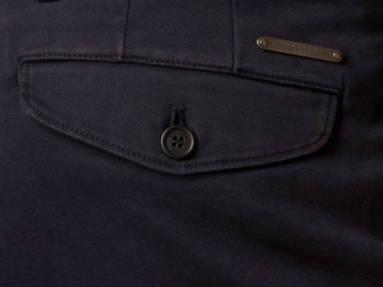 Navy Slim Fit Stretch-Cotton Twill Chinos Navy - cell image 1