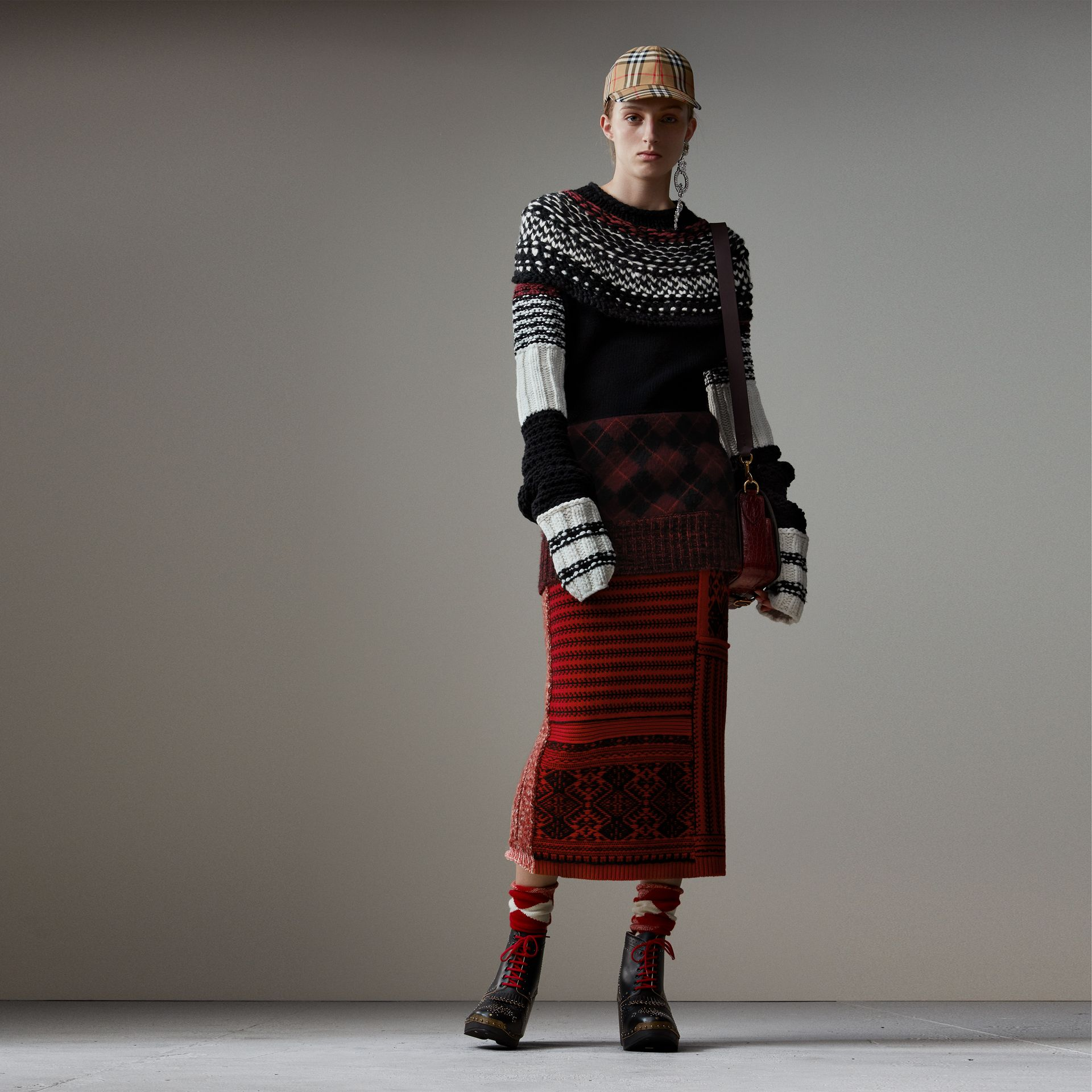 Hand-knitted Yoke Cashmere Wool Sweater in Black - Women | Burberry United States - gallery image 0