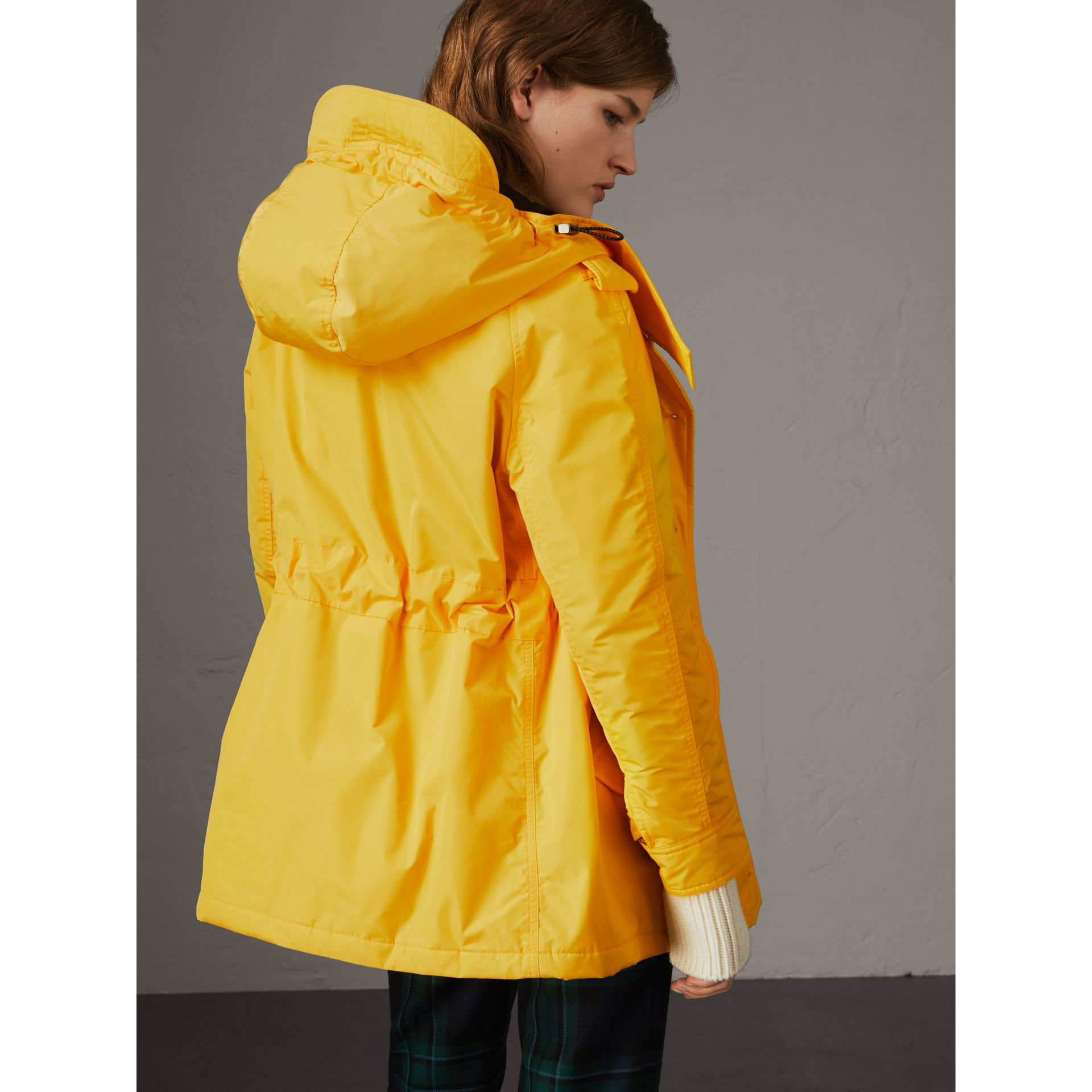 Technical Taffeta Hooded Parka in Bright Yellow - Women | Burberry - gallery image 3