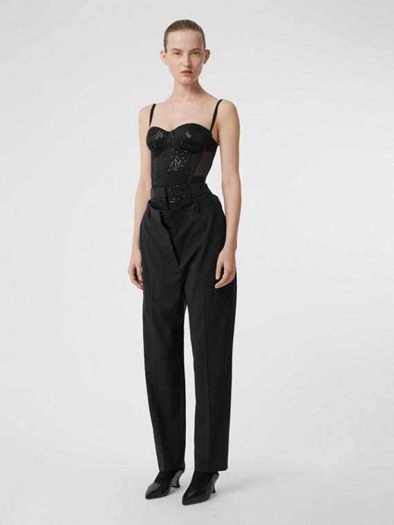 Pantalon en laine stretch à double ceinture avec sequins (Noir)