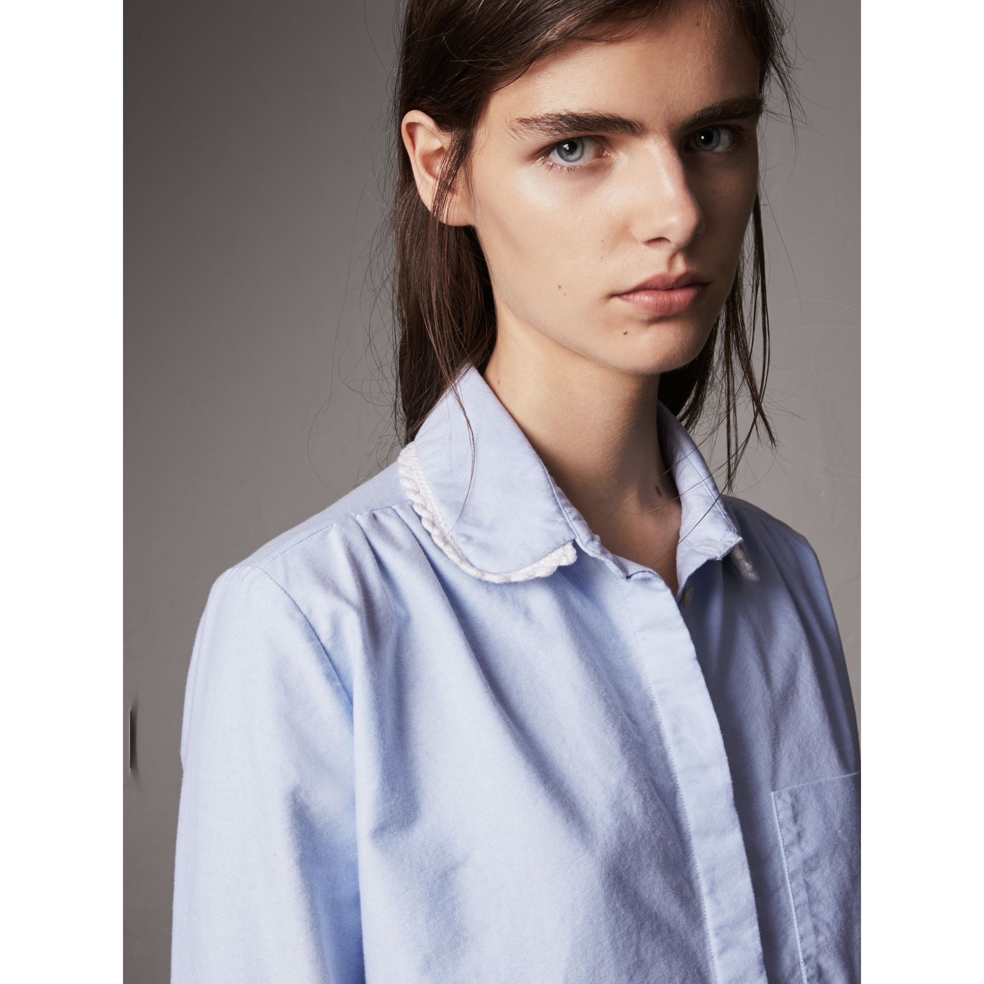 Lace-trimmed Round Collar Cotton Shirt in Cornflower Blue - Women | Burberry - gallery image 1