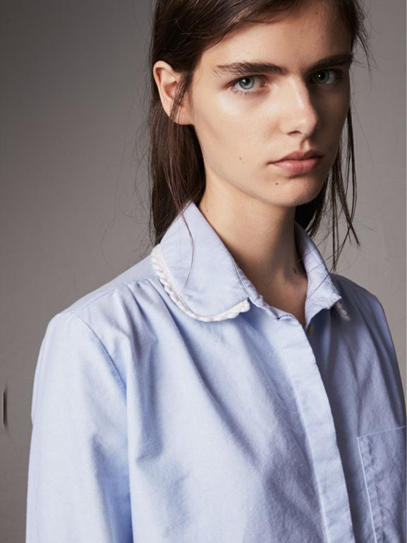 Lace-trimmed Round Collar Cotton Shirt in Cornflower Blue - Women | Burberry - cell image 1