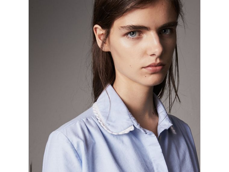 Lace-trimmed Round Collar Cotton Shirt in Cornflower Blue - Women | Burberry United Kingdom - cell image 1