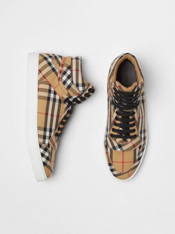 Vintage Check Cotton High-top Sneakers in Antique Yellow