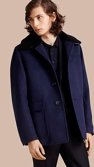 Donkey jacket de cashmere com colarinho de shearling removível