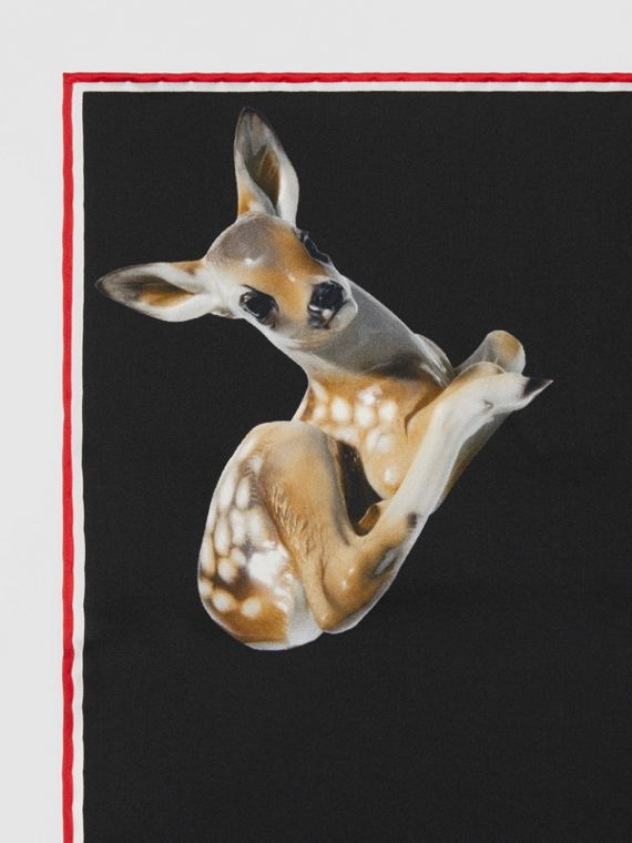 Deer Print Silk Pocket Square in Black