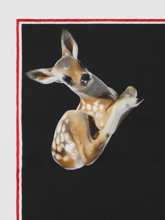 鹿印花絲質口袋方巾 (黑色)