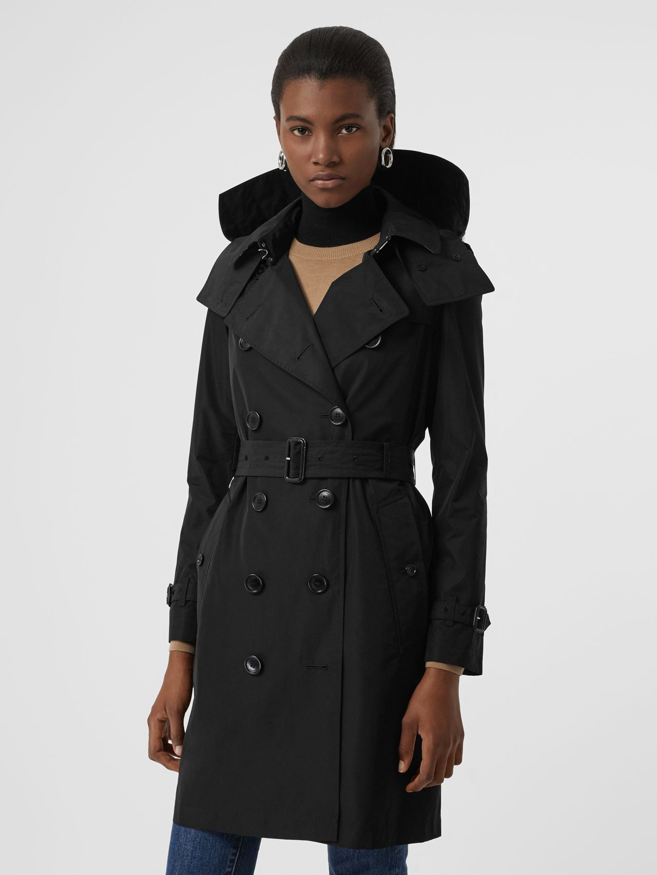Detachable Hood Taffeta Trench Coat (Black)
