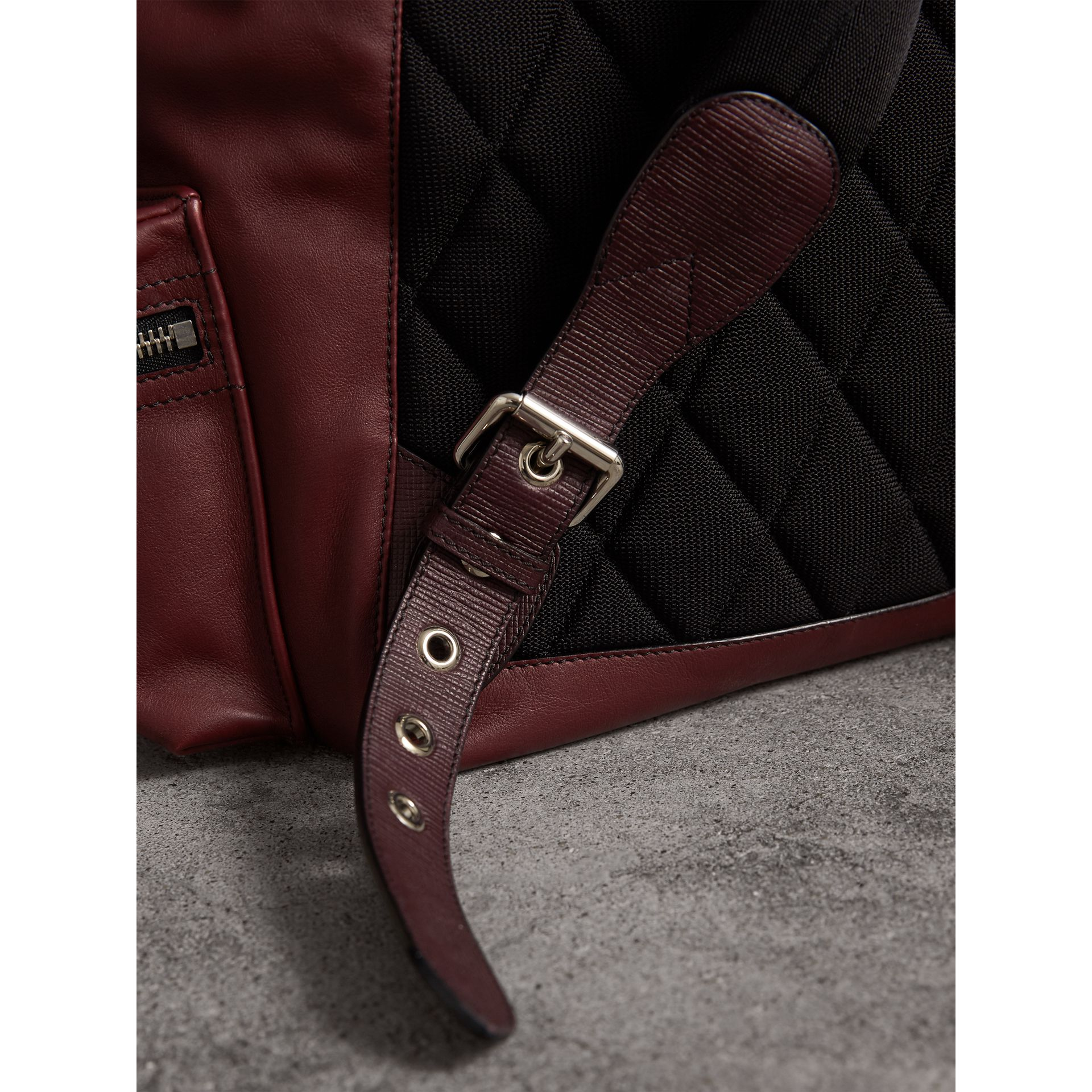 The Large Rucksack in Water-repellent Leather in Burgundy Red - Men | Burberry - gallery image 2