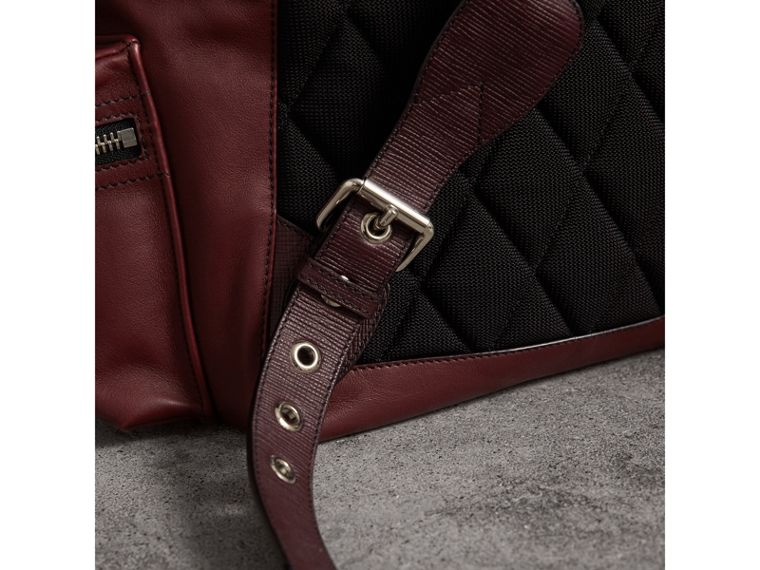 The Large Rucksack in Water-repellent Leather in Burgundy Red - Men | Burberry Hong Kong - cell image 1