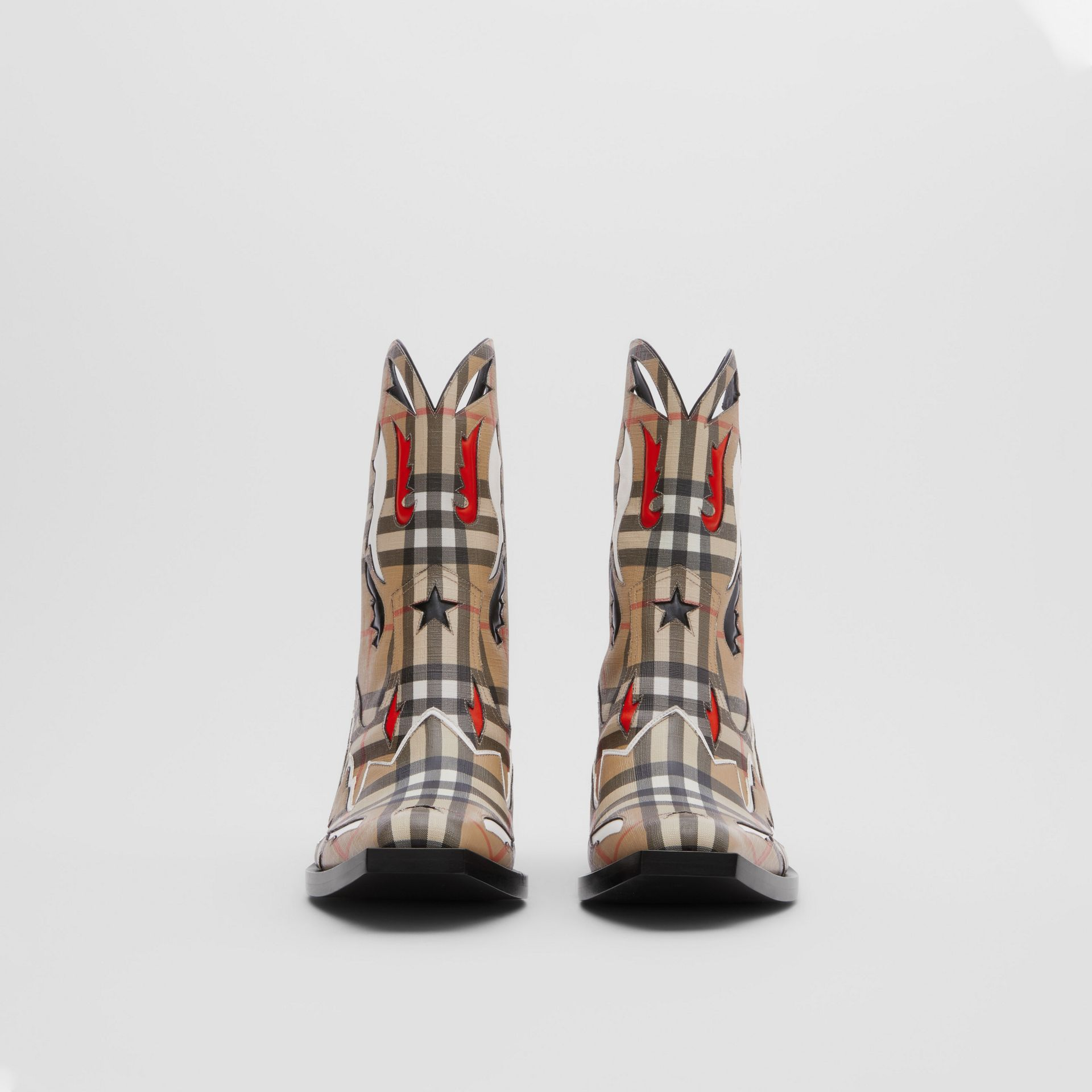 Topstitch Appliqué Vintage Check E-canvas Boots in Archive Beige - Women | Burberry - gallery image 3