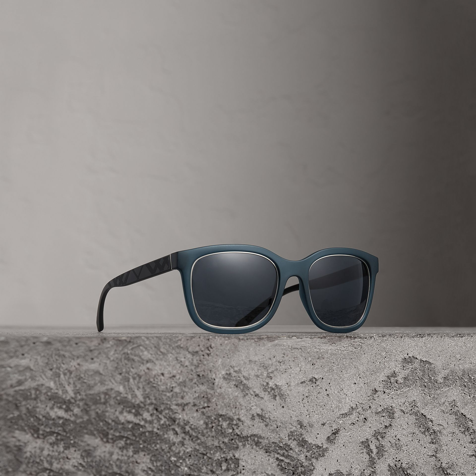 Embossed Check Detail Square Frame Sunglasses in Navy - Men | Burberry - gallery image 0