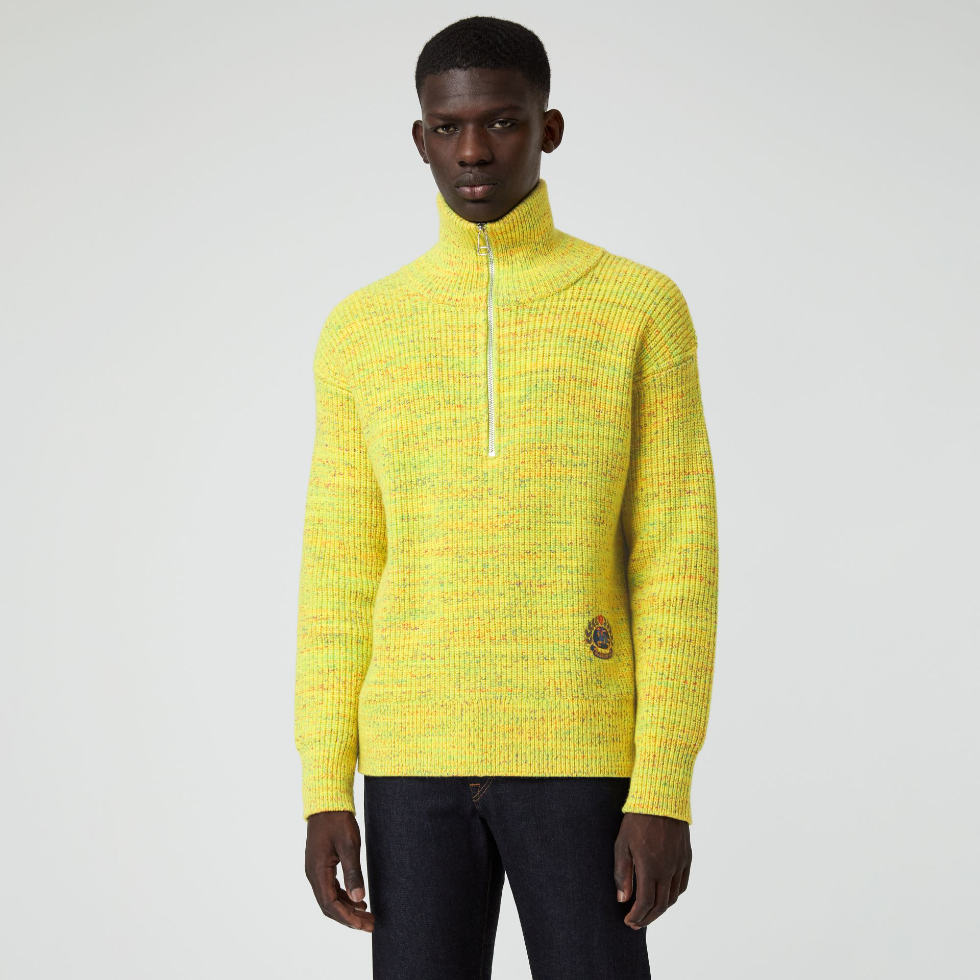Rib Knit Wool Cashmere Blend Half-zip Sweater in Vibrant Yellow - Men | Burberry - gallery image 0