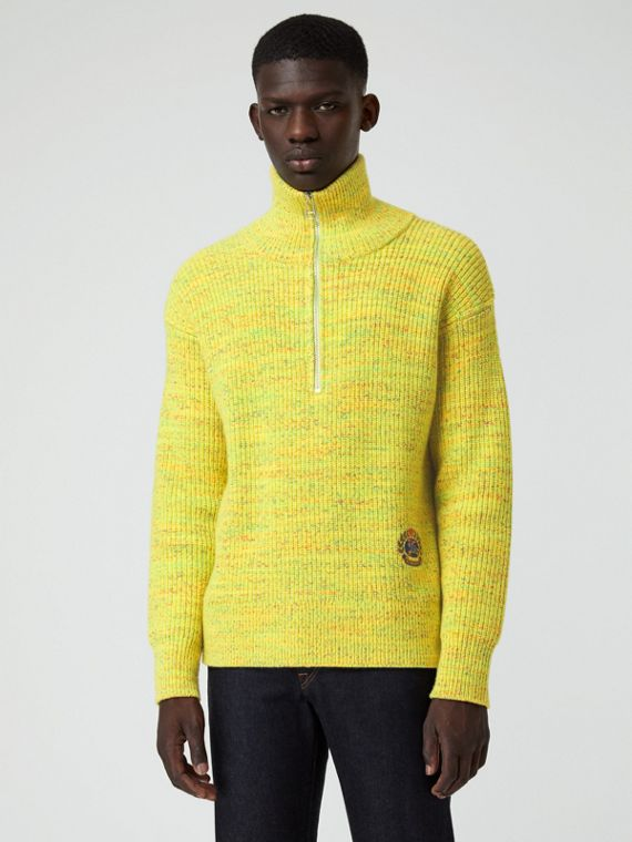 Rib Knit Wool Cashmere Blend Half-zip Sweater in Vibrant Yellow