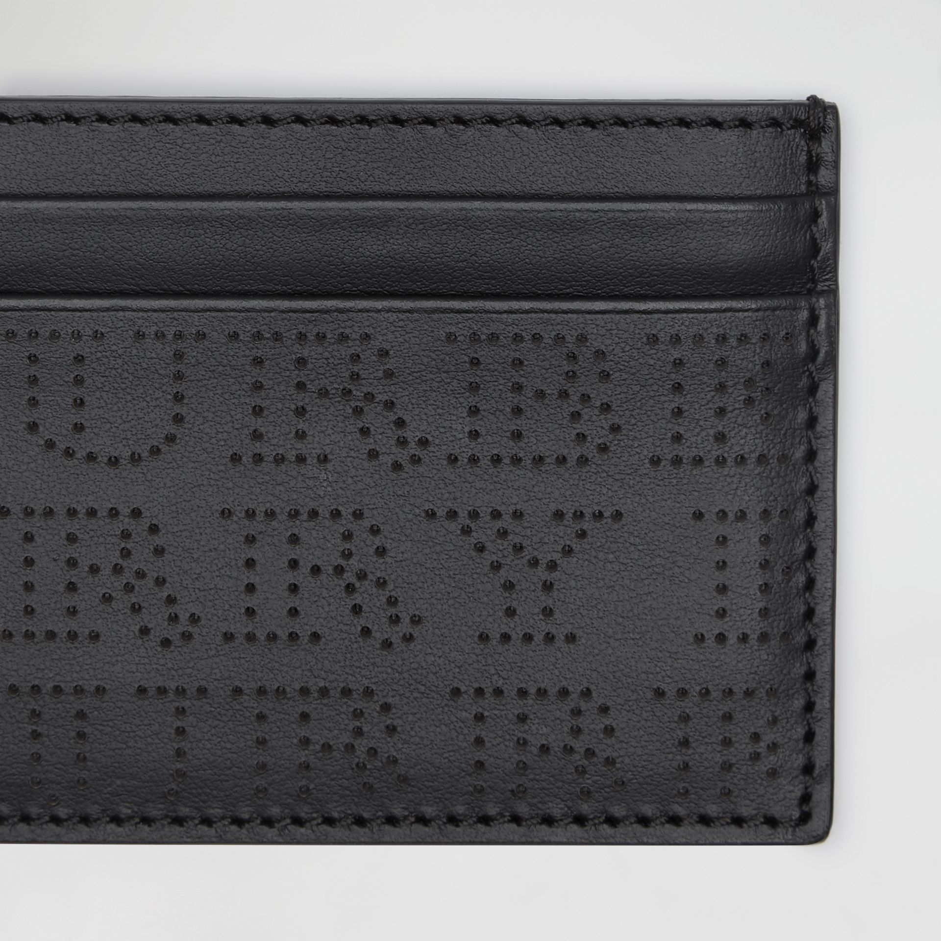 Perforated Logo Leather Card Case in Black | Burberry - gallery image 1