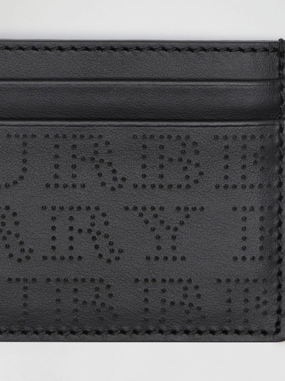 Perforated Logo Leather Card Case in Black | Burberry United Kingdom - cell image 1