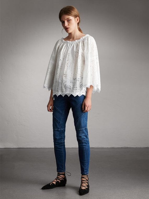 Broderie Anglaise Flared Top - Women | Burberry Singapore